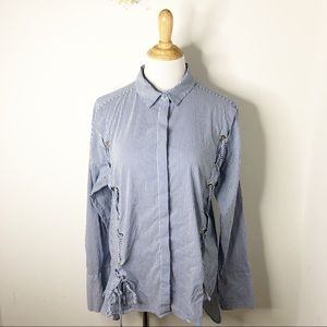 Topshop Striped Oversized Button Down Shirt